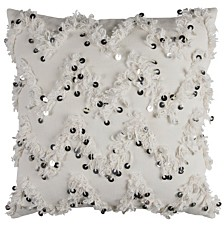 "Rizzy Home 20"" x 20"" Textured Fringe and Sequinned Pillow Poly Filled"