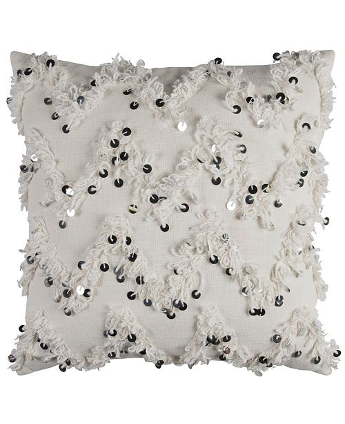"""Rizzy Home 20"""" x 20"""" Textured Fringe and Sequinned Pillow Poly Filled"""
