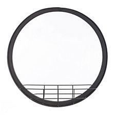 Round Mirror Shelf Lg Antique Black