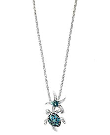 EFFY® Blue Topaz (9/10 ct.t.w.) and Diamond Accent Pendant in Sterling Silver