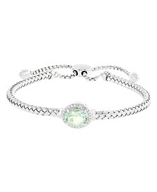 EFFY® Green Quartz (1-1/2 ct. t.w.) and Diamond Accent Bracelet in Sterling Silver