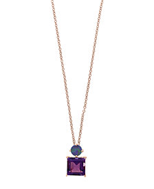 EFFY® Amethyst (2-1/10 ct.t.w.) and Blue Opal (3/4 ct. t.w.) Pendant in 14k Rose Gold