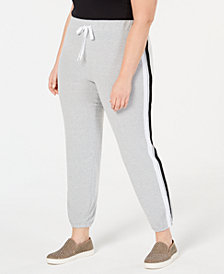 Planet Gold Trendy Plus Size Varsity-Stripe Sweatpants