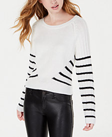 Planet Gold Juniors' Striped Rib-Knit Sweater