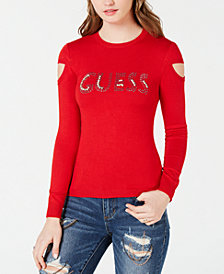 GUESS Cold-Shoulder Rhinestone Logo Sweater