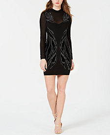 GUESS Long-Sleeve Velour Bodycon Dress