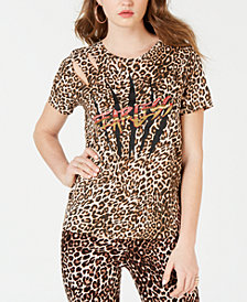 GUESS Embellished Animal-Print T-Shirt
