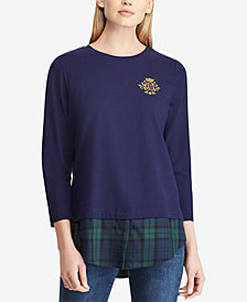 Lauren Ralph Lauren Layered-Look Monogram-Embroidered Top