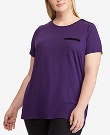 Lauren Ralph Lauren Plus Size Striped Pocket T-Shirt