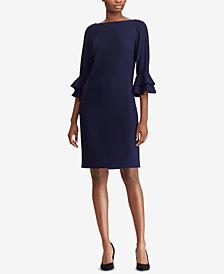 Lauren Ralph Lauren Ruffle-Sleeve Crepe Dress