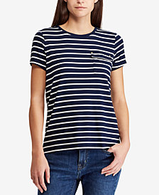 Lauren Ralph Lauren Striped Pocket T-Shirt