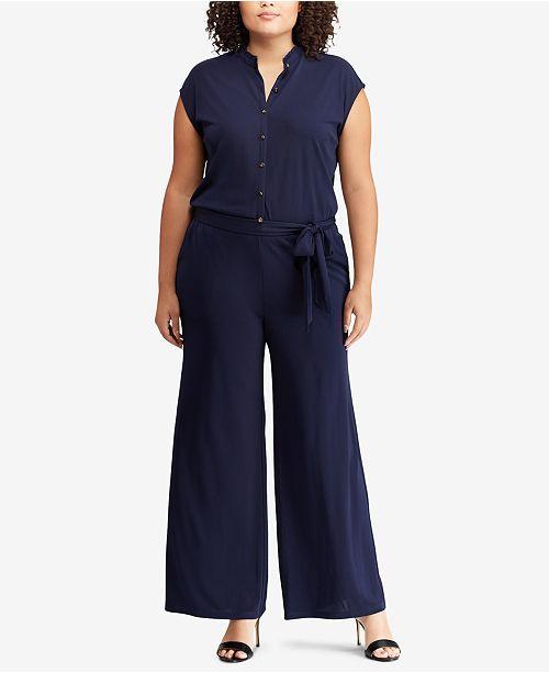 cbd4ad6b6a6 Lauren Ralph Lauren Plus Size Buttoned Jumpsuit   Reviews ...