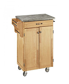 Home Styles Natural Cuisine Cart with Concrete Top