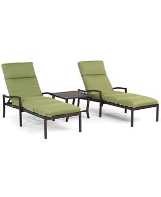 Madison outdoor aluminum 3 pc chaise set 2 chaise - Chaise longue aluminium ...