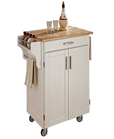 Home Styles Cuisine Cart White Finish with Natural Wood Top