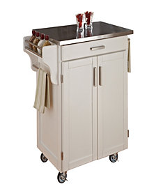 Home Styles Cuisine Cart White Finish Stainless Top