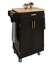 Home Styles Cuisine Cart Black Finish with Wood Top