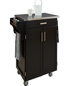 Home Styles Cuisine Cart Black Finish Stainless Top