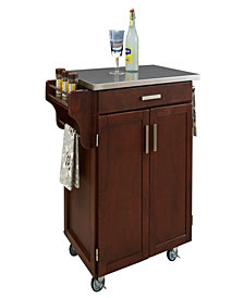 Home Styles Cuisine Cart Cherry Finish Stainless Top