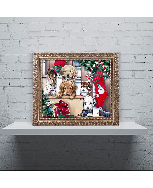 """Trademark Global Jenny Newland 'Christmas Puppies On The Loose' Ornate Framed Art, 11"""" x 14"""""""