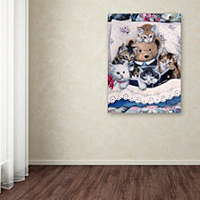 Jenny Newland 'Kittens And Teddy Bear' Canvas Art