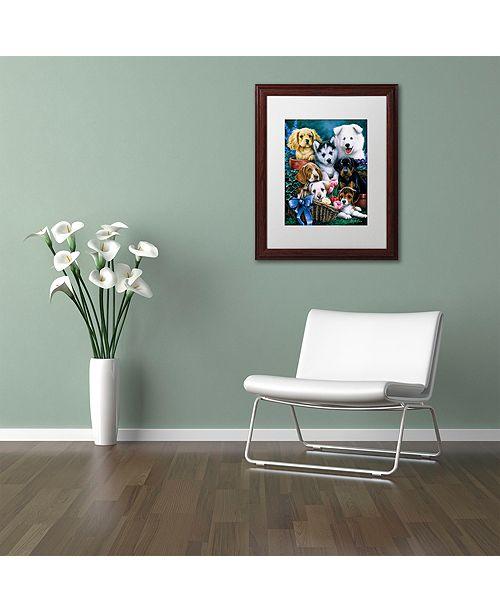"Trademark Global Jenny Newland 'Puppies' Matted Framed Art, 11"" x 14"""