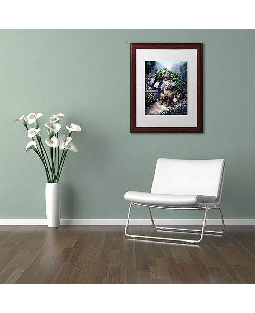 "Trademark Global Jenny Newland 'Gardening Puppies' Matted Framed Art, 11"" x 14"""