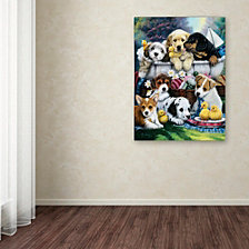 Jenny Newland 'Bath Time Pups' Canvas Art