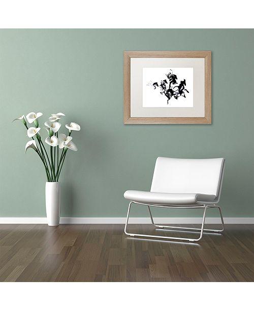 """Trademark Global Robert Farkas 'Black Horses' Matted Framed Art, 16"""" x 20"""""""