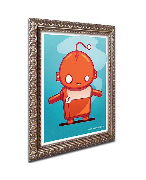 "Trademark Global Craig Snodgrass 'Retro Robot Orange' Ornate Framed Art, 11"" x 14"""