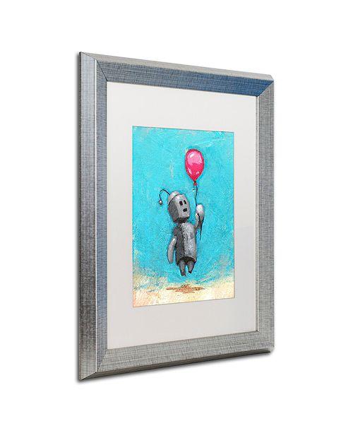"""Trademark Global Craig Snodgrass 'Robot With Red Balloon' Matted Framed Art, 16"""" x 20"""""""
