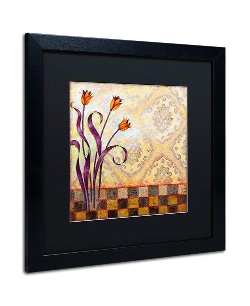 "Trademark Global Rachel Paxton 'Flowers and Tiles' Matted Framed Art, 16"" x 16"""