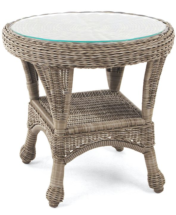 "Furniture Sandy Cove Wicker 22"" Round Outdoor End Table, Created for Macy's"