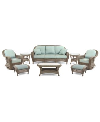 Sandy Cove Outdoor Wicker 8-Pc. Seating Set (1 Sofa, 2 Swivel Gliders, 2 Ottomans, 1 Coffee Table and 2 End Tables), Created for Macy's