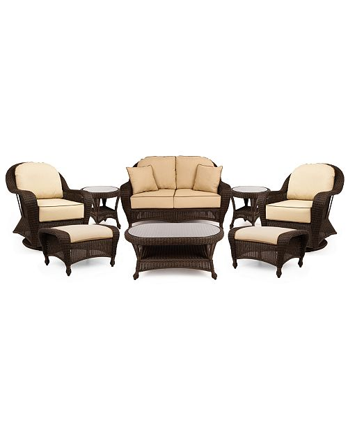 Peachy Monterey Outdoor Wicker 8 Pc Seating Set With Sunbrella Cushions 1 Loveseat 2 Swivel Gliders 2 Ottomans 1 Coffee Table And 2 End Tables Pabps2019 Chair Design Images Pabps2019Com