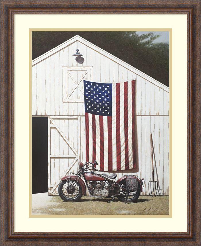 Amanti Art - Barn and Motorcycle 22x27 Framed Art Print