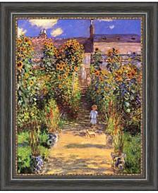 The Artist'S Garden At Vetheuil, 1880  Canvas Art Framed