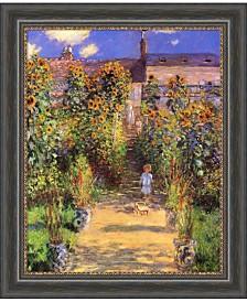 Amanti Art The Artist'S Garden At Vetheuil, 1880  Canvas Art Framed