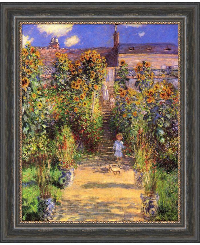 Amanti Art - The Artist's Garden at Vetheuil, 1880 20x24 Canvas Art Framed