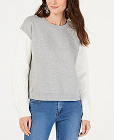I.N.C. Mixed-Materials Crew-Neck Sweater, Created for Macy's