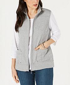 Karen Scott Petite Zip Vest, Created for Macy's