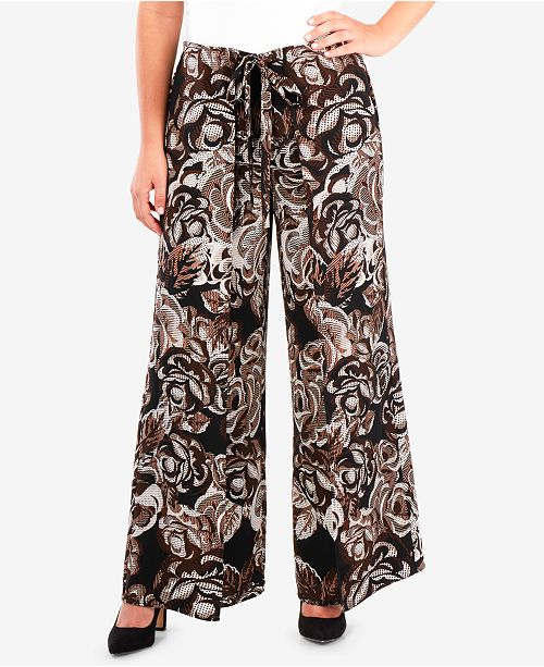 NY Collection Printed Wide Leg Pants
