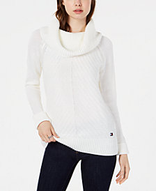 Tommy Hilfiger Chevron-Knit Cowl-Neck Sweater, Created for Macy's