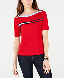 Tommy Hilfiger Cotton Flag-Logo Boatneck Top, Created for Macy's