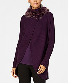 Petite Faux-Fur-Trim Convertible Cardigan, Created for Macy's