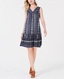 Style & Co Print Ruffled-Hem Sleeveless Dress, Created for Macy's