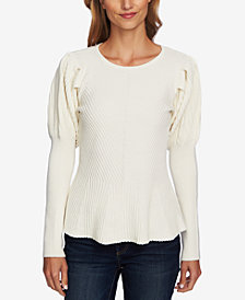 CeCe Cotton Puff-Sleeve Sweater