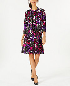 Kasper Painted Rose Scuba Crepe Jacket & Dress