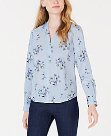 Maison Jules Floral-Print Surplice-Neck Top, Created for Macy's