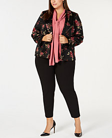 Nine West Plus Size Printed Jacket, Bow Blouse & Pull-On Pants